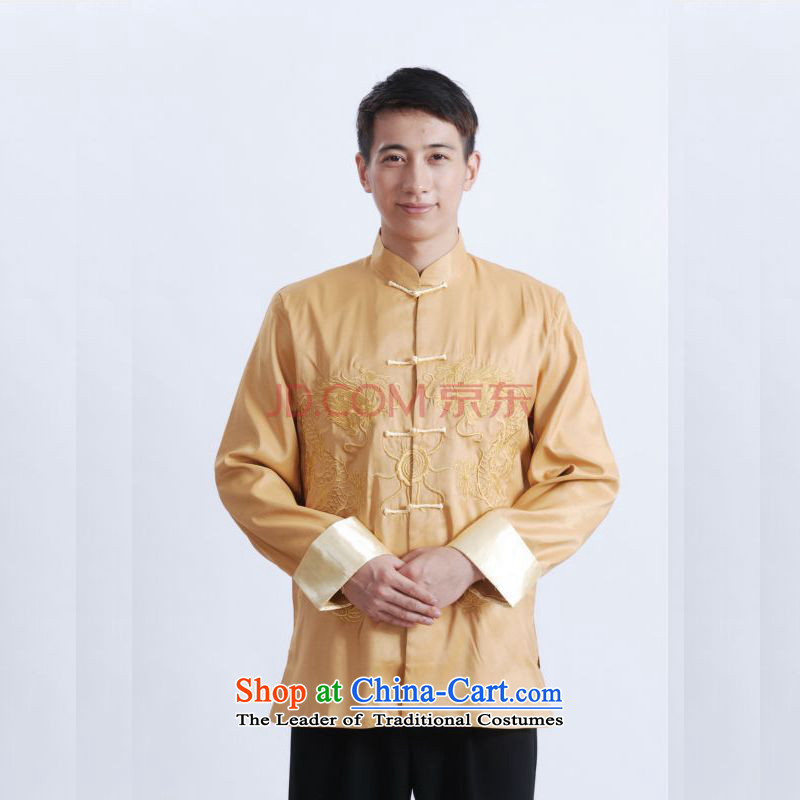 Picking Frequency Tang Dynasty Men long-sleeved national costumes men Tang jackets collar embroidery Chinese dragon yellow?L