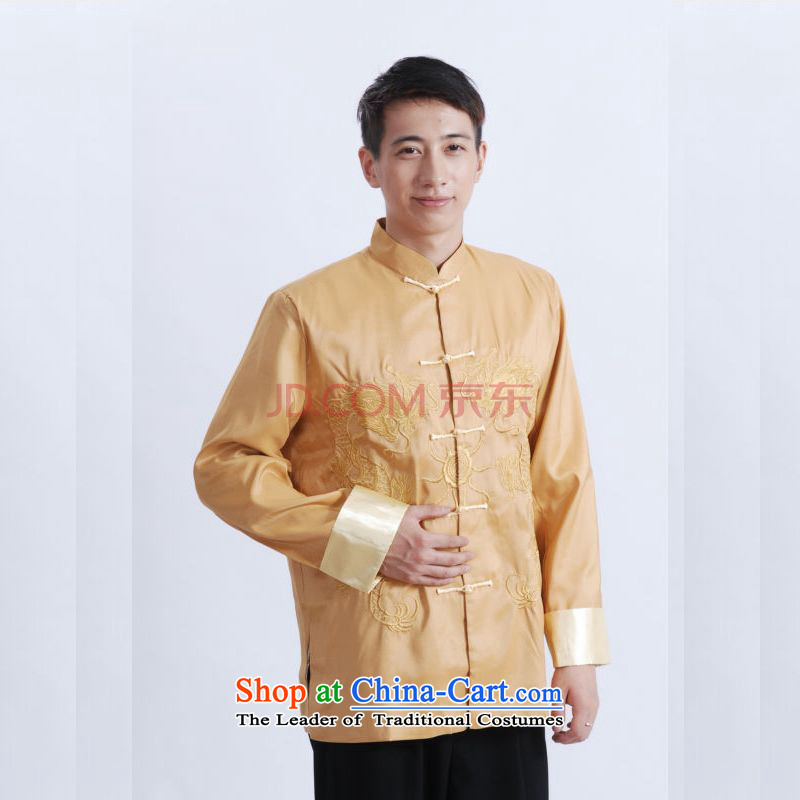 Picking Frequency Tang Dynasty Men long-sleeved national costumes men Tang jackets collar embroidery Chinese Dragon Yellow聽, L, picking frequency , , , shopping on the Internet