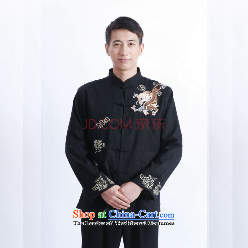 Picking Frequency Tang Dynasty Men long-sleeved national costumes men Tang jackets collar embroidery Chinese dragon?M1121?3XL black