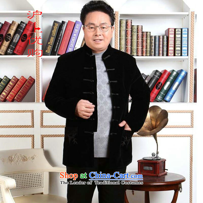 Shanghai, optimization options men Tang dynasty long-sleeved sweater in Tang Dynasty collar older men robe scouring pads made wedding dress black聽M