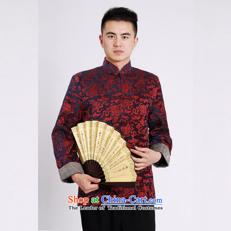 Picking Frequency Tang Dynasty Men long-sleeved sweater Tang blouses Men's Jackets Tang cotton thick black add?L