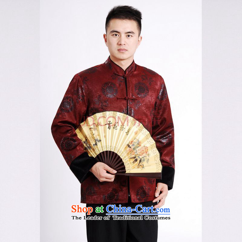 Picking Frequency Tang Dynasty Men long-sleeved sweater Tang blouses men's jacket water Sable Hair Tang add cotton waffle wine red?M