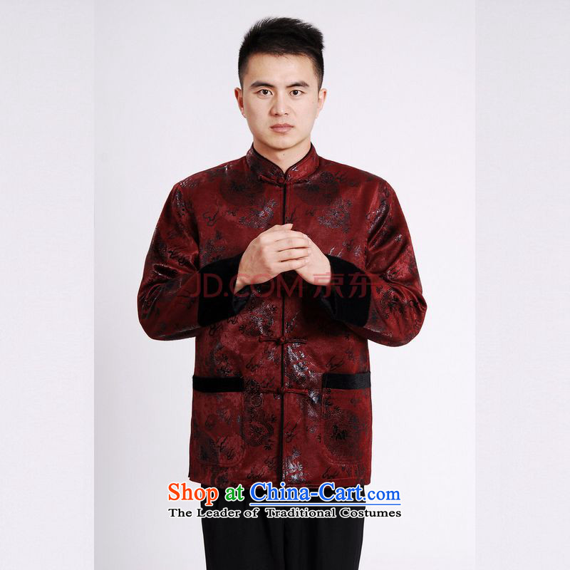 Picking Frequency Male jacket water Sable Hair Tang Add Tang dynasty lint-free men long-sleeved sweater Tang Dynasty Chinese dragon wine red聽M