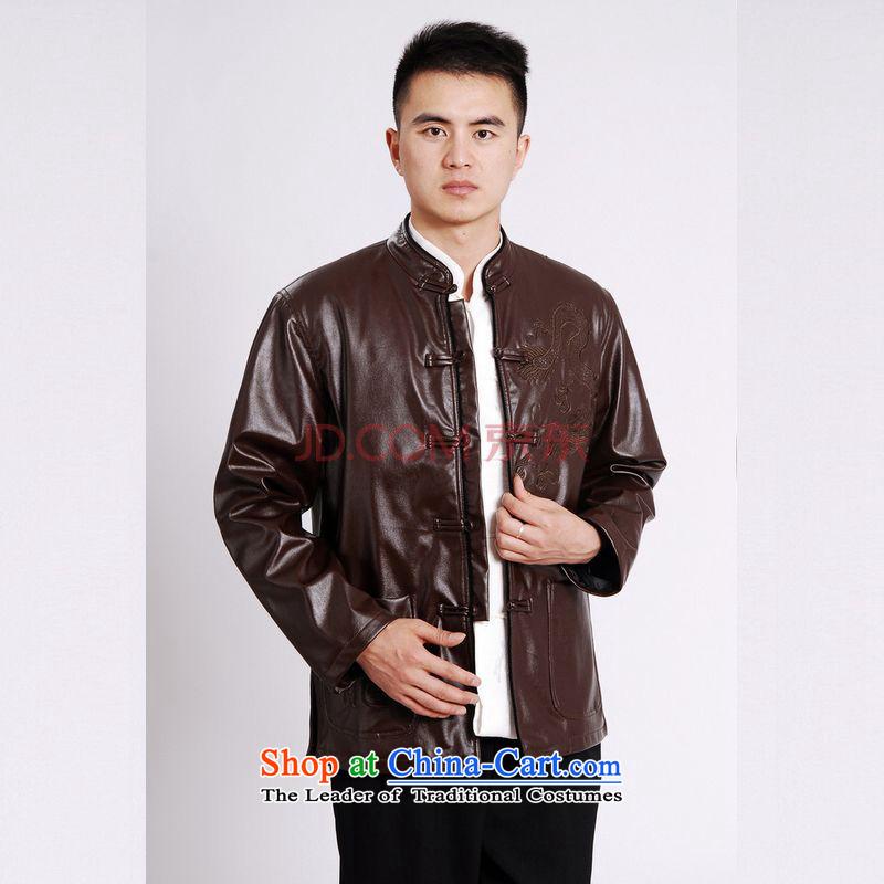 Picking Frequency Tang Dynasty Men long-sleeved sweater Tang blouses men's leather jacket water Sable Hair Tang dynasty leather garments plus lint-free brown聽L