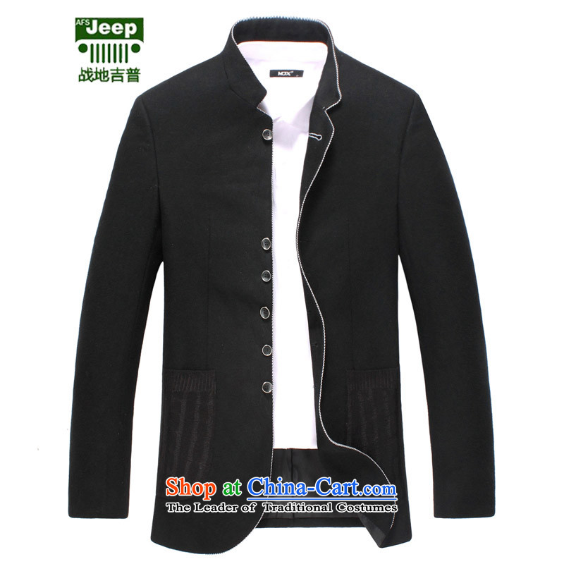 The field of Roma afs jeep suit Men's Mock-Neck Chinese tunic suit Sau San wool? leisure suit Chinese jacket large black?48?recommendations about 135