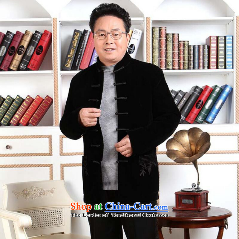 Ms Au King Mansion to Tang dynasty men long-sleeved sweater in Tang Dynasty collar older men robe scouring pads made wedding dress�XXXL black