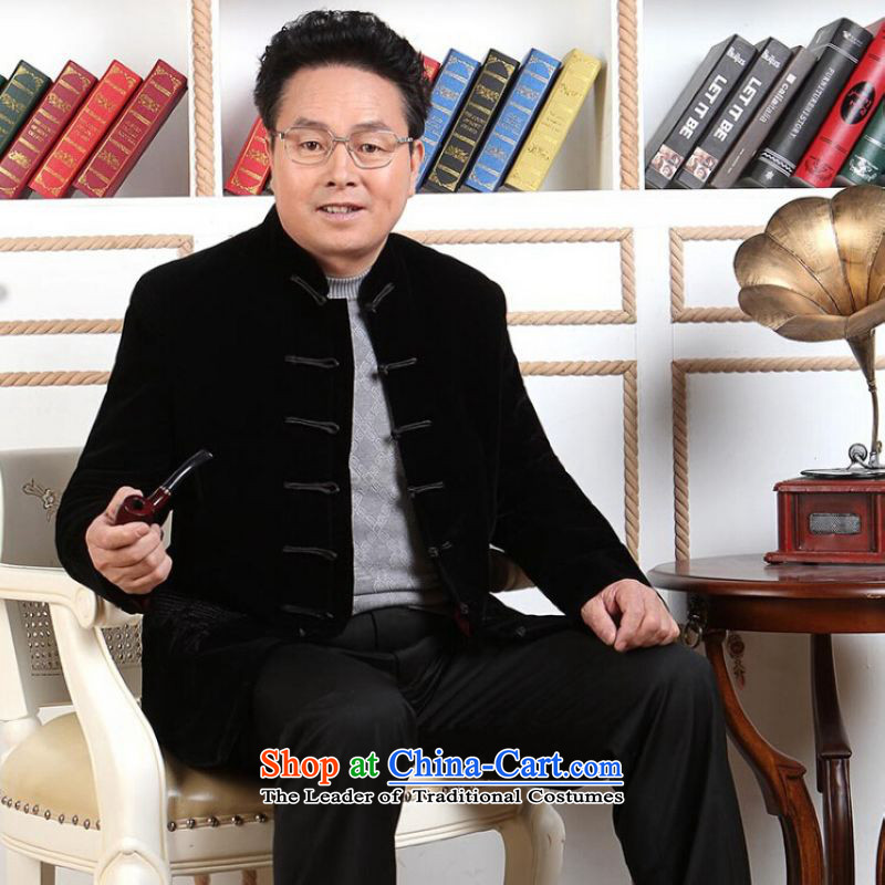 Ms Au King Mansion to Tang dynasty men long-sleeved sweater in Tang Dynasty collar older men robe scouring pads made wedding dress black聽XXXL, intended Jing Ge , , , shopping on the Internet