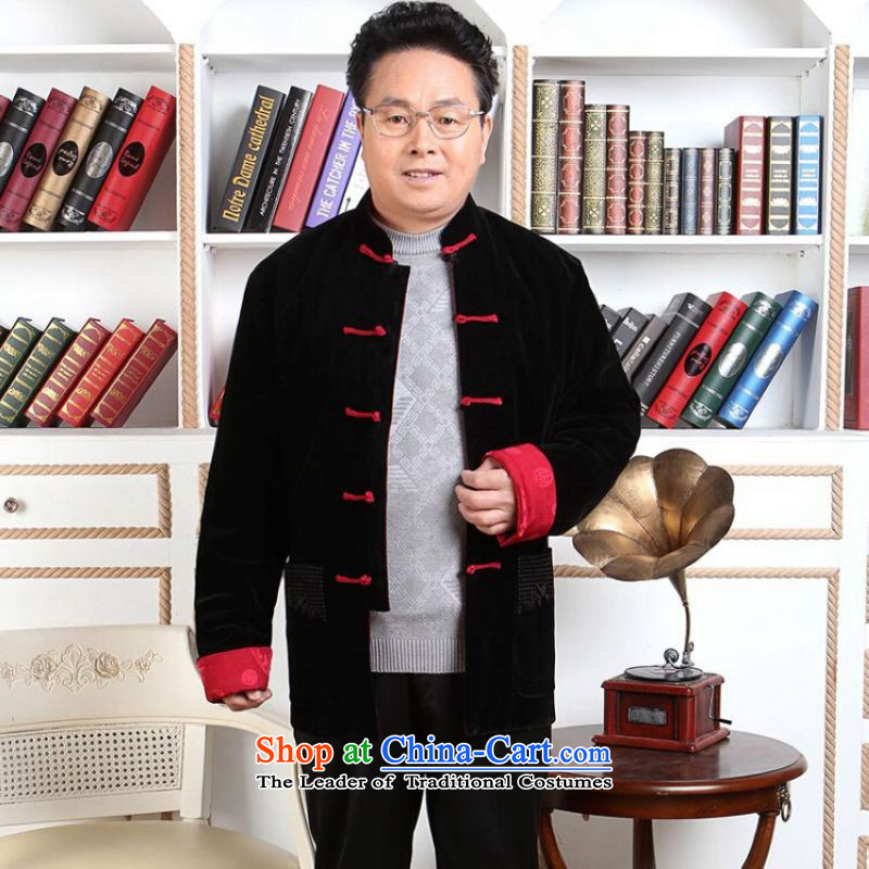 Ms Au King Mansion to Tang dynasty men long-sleeved sweater in Tang Dynasty older men on both sides of the velvet wearing do robe Wedding Apparel?-1 Shou black red double-sided wear?XXXL