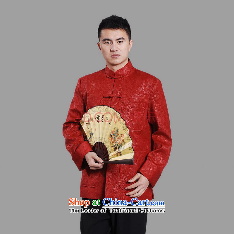 Picking Frequency Tang Dynasty Men long-sleeved national costumes men Tang jackets collar embroidery Chinese dragon?3XL red