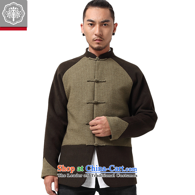 To tree fall and winter Tang dynasty China wind Long-sleeve gross jacket collar up? detained men tea cyan movement