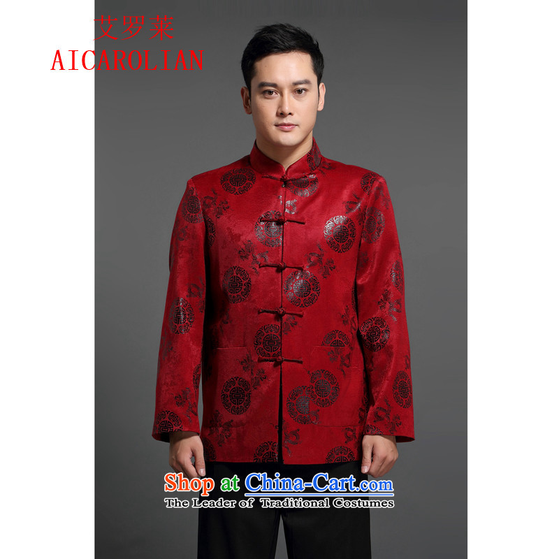 Replace the Spring and Autumn period the new 2015 HIV ROLLET AICAROLIAN long-sleeved sweater Tang dynasty male middle-aged men national costumes red T-shirt燲L