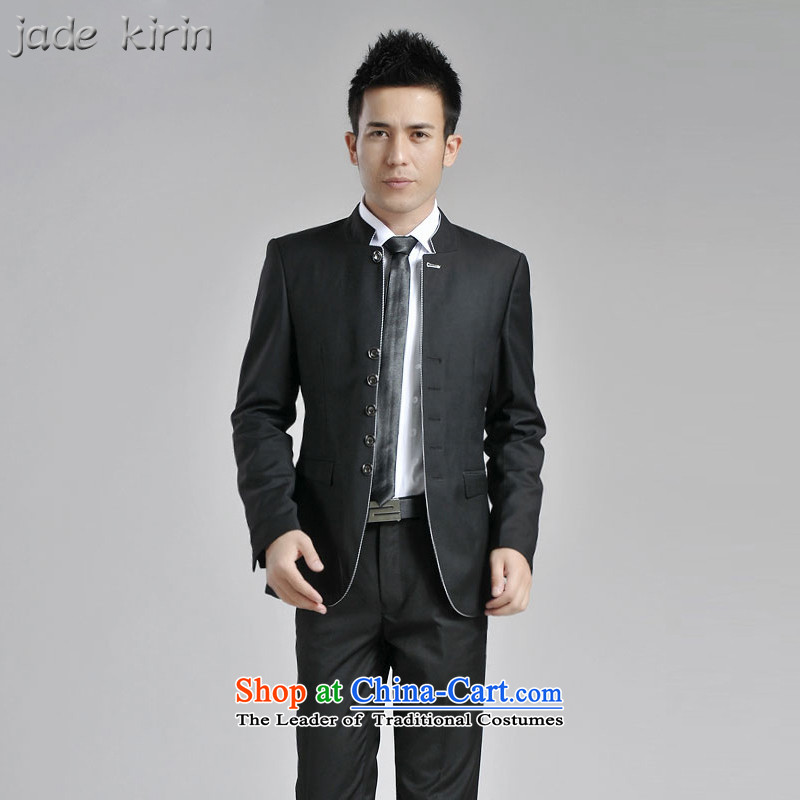 Chinese tunic suit Male Chinese collar Korean who accompanied the bridegroom Sau San wedding banquet dress of Chinese male and will suit 1619PTZH black 180_XXL 1619