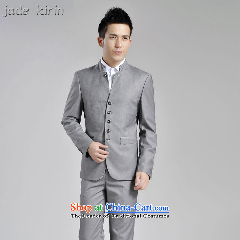 The autumn and winter new products male and a mock-neck small business suit Korean Chinese tunic suit male and casual jacket men Sau San men career will gray 1619 180_XXL 161902PT