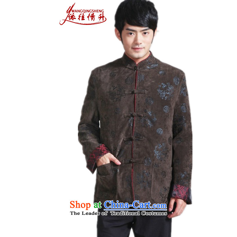 In accordance with the love of older l autumn and winter trendy new products of Men's Mock-Neck to suit his father with his single row detained Tang dynasty 泾蜮 _2956_ D - 3 M