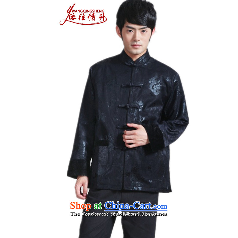 In accordance with the love of older l spring winter trendy new products of Men's Mock-Neck suit stitching father with Single Line button Tang dynasty ����- 3 L