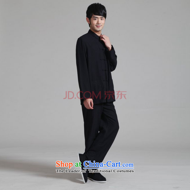Picking frequency men Tang dynasty long-sleeved Kit Mock-Neck Shirt cotton linen kung fu tai chi Services?- 1 black?XXL