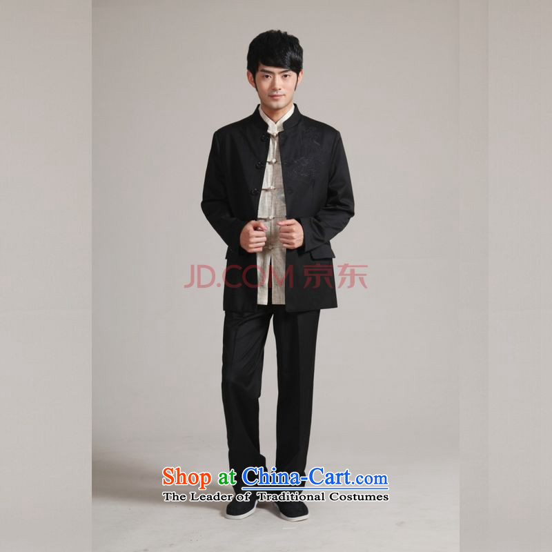 Picking Frequency Men's Mock-Neck Korean Chinese tunic suit coats the bridegroom wedding dresses Sau San Kit?- 1 black?L