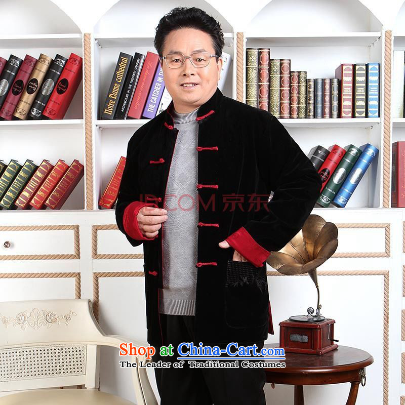 Picking Frequency Men long-sleeved sweater in Tang Dynasty older men Tang dynasty robe scouring pads reversible made wedding dress?- 1 black red double-sided through?M
