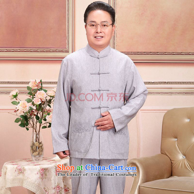 Picking frequency of older men and women Tang dynasty taxi couples with the spring and fall long-sleeved jacket cotton Linen Pants Shirts Kit men gray suit燲L