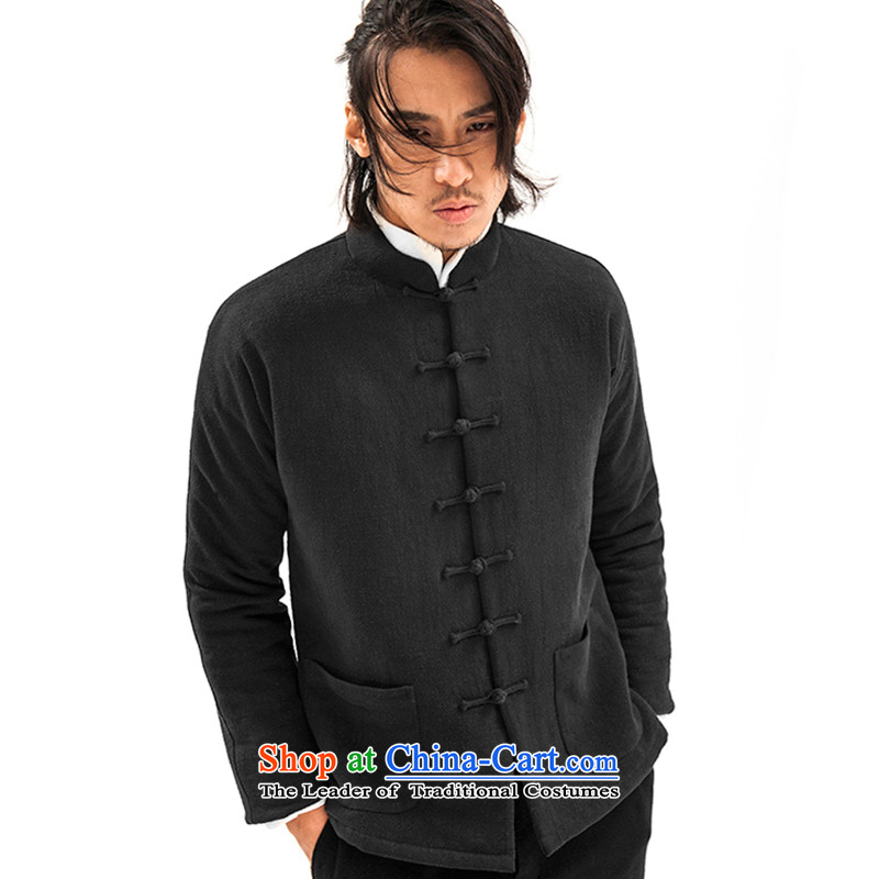 Seventy-tang winter clothing new cotton coat China wind-collar Tang dynasty robe cotton linen Chinese Disc detained national costumes and Stylish retro stripes jacket original black men s pre-sale five days Shipment