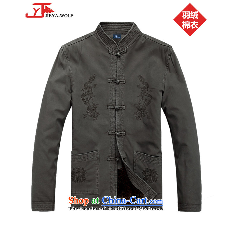 - Wolf JIEYA-WOLF2015, New Tang Dynasty Long-Sleeve Shirt autumn and winter leisure men plush, standard feather Cotton Khaki?175/L services