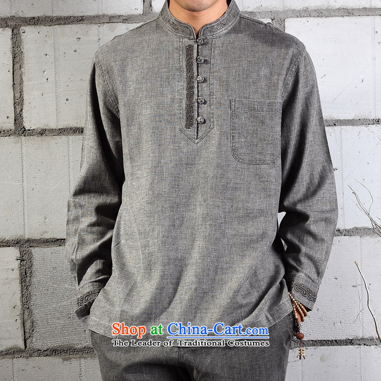 Cotton linen garments - meditation natural cotton linen coat embroidered Tang Dynasty Chinese YL041-87 light gray燺L_