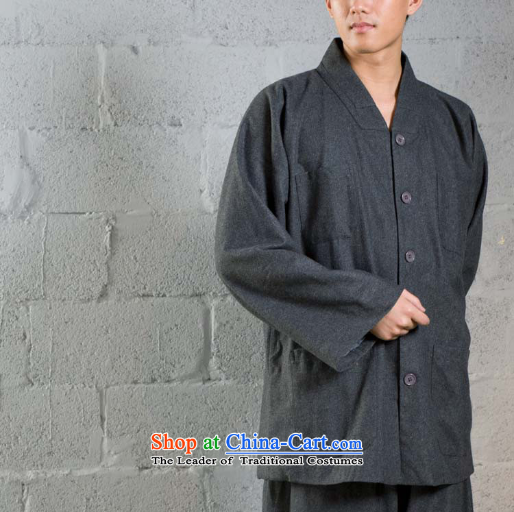 Cotton linen garments - monks coat/Meditation/Chinese gross use/short? Use Small packaged?YXS02-45 Kit Carbon?L/170