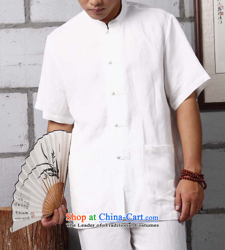 Cotton linen - Yoga/ Meditation/ball-Menswear original disc thread the new Chinese Tang dynasty?YZS706?white long-sleeved?XL