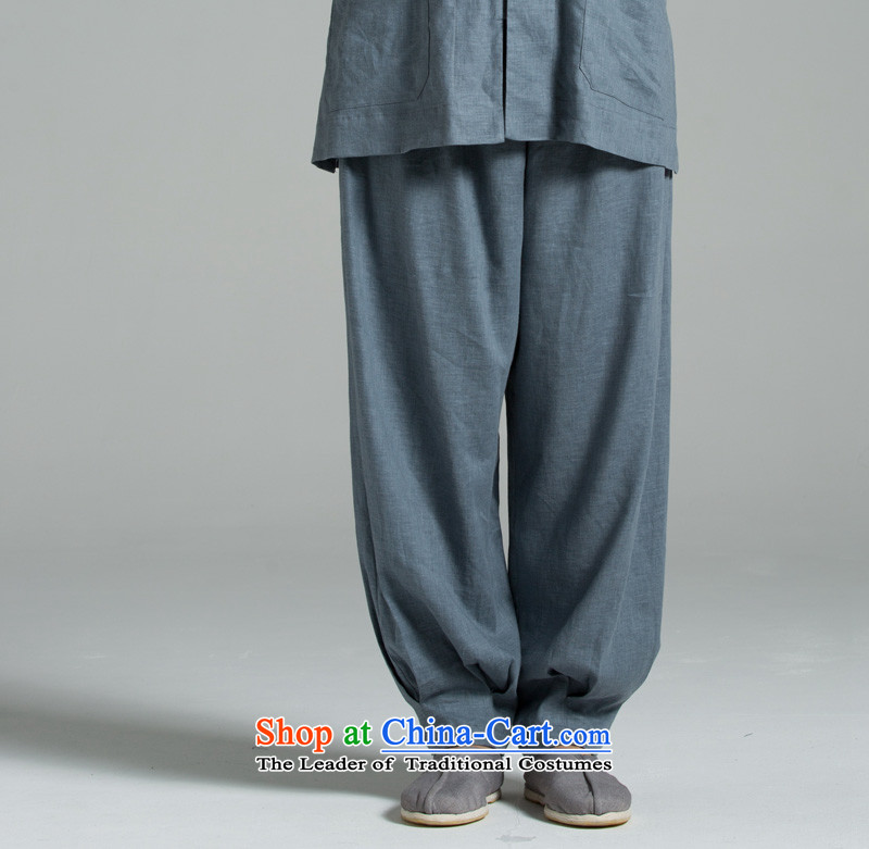 Cotton linen Meditation/Ball - Japan's summer cool water washing clothes cotton linen pants YHF008 kept their mouths shut blue-gray blue-gray?M(3 days)