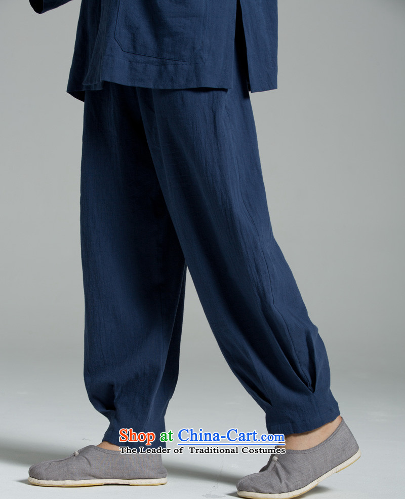 Cotton linen Meditation/Ball - serving Thai summer cool washable cotton yarn meditation?YHF008 dark blue trousers dark blue?XL(3 days)