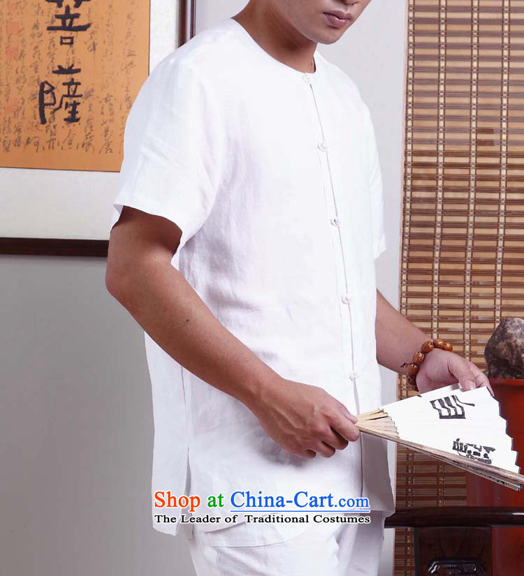 Cotton linen - Meditation_Ball Services snap-FIT Short-Sleeve Men original innovative Chinese Tang dynasty YL016-104 White燤