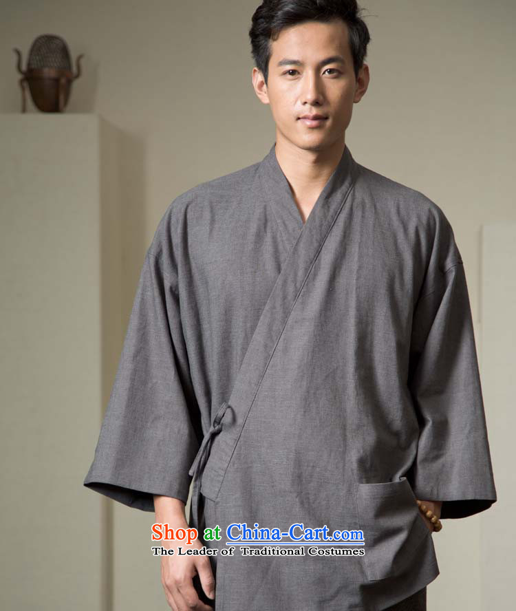 - Monastery/ball-Menswear imports sand washing pure linen Han-Tang dynasty YL128-179�XL/175 Carbon