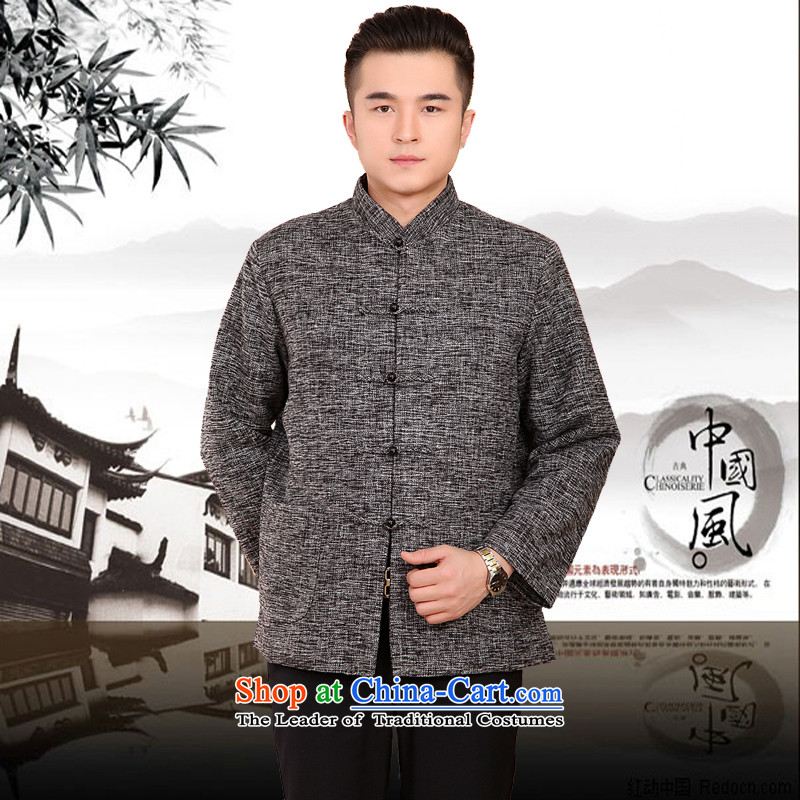 Mr Rafael Hui Kai new Timor winter thick cotton linen and Tang dynasty Chinese leisure Tang jackets in older plus cotton Tang blouses 13187?170 Gray