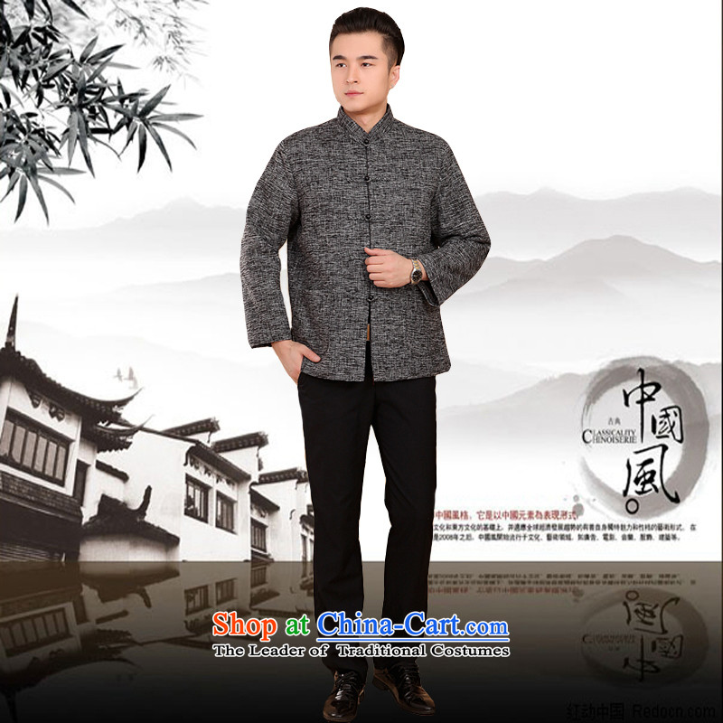 Mr Rafael Hui Kai new Timor winter thick cotton linen and Tang dynasty Chinese leisure Tang jackets in older plus cotton Tang blouses 13187聽170, Dili Shi Kai, Gray , , , shopping on the Internet