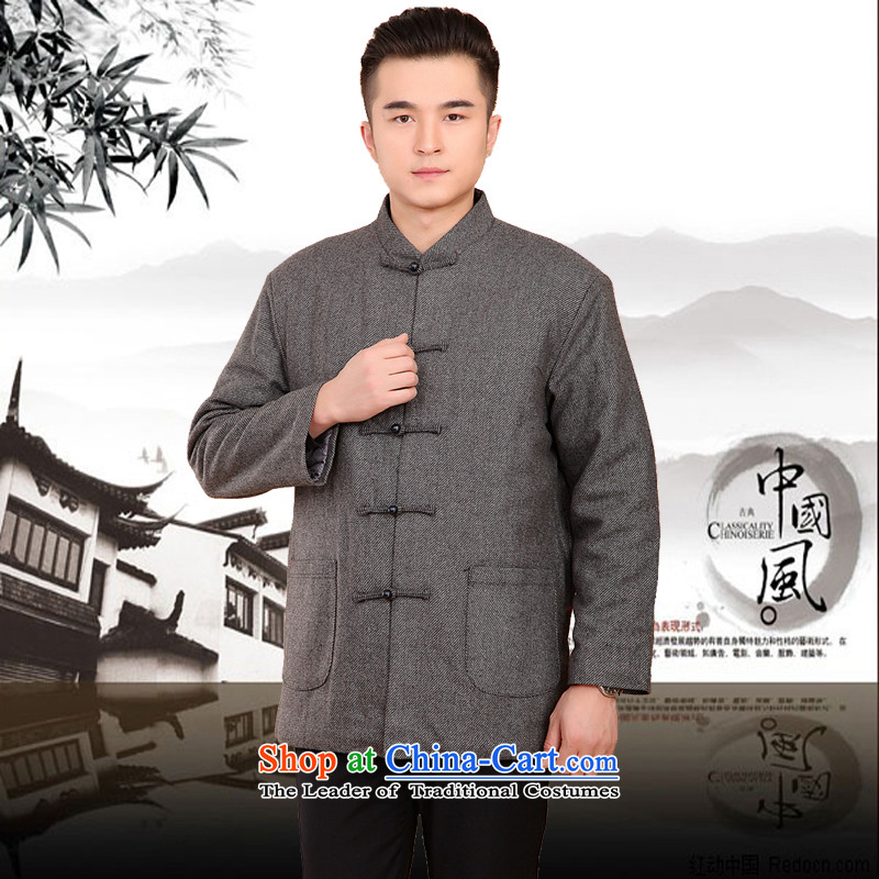 Mr Rafael Hui Kai new Timor winter thick Tang dynasty male leisure Chinese Tang jackets in older plus cotton Tang blouses 13185聽175 Light Gray