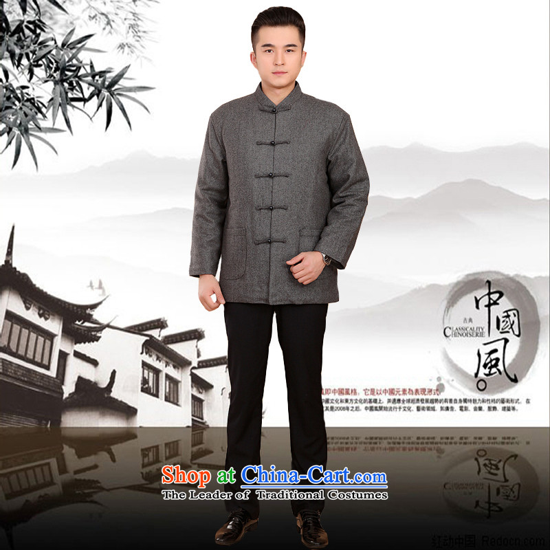 Mr Rafael Hui Kai new Timor winter thick Tang dynasty male leisure Chinese Tang jackets in older plus cotton Tang blouses 13185聽175, Light Gray Mr Rafael Hui Kai.... In Dili shopping on the Internet