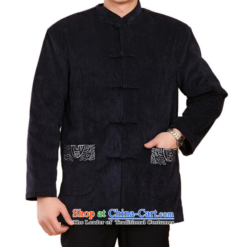 Bosnia and the elderly in the line thre embroidery folder cotton jacket Tang China wind Chinese Men's Mock-Neck Fall/Winter Collections cotton coat the feast of gifts?, Birthday F2059?XXXL/190 blue