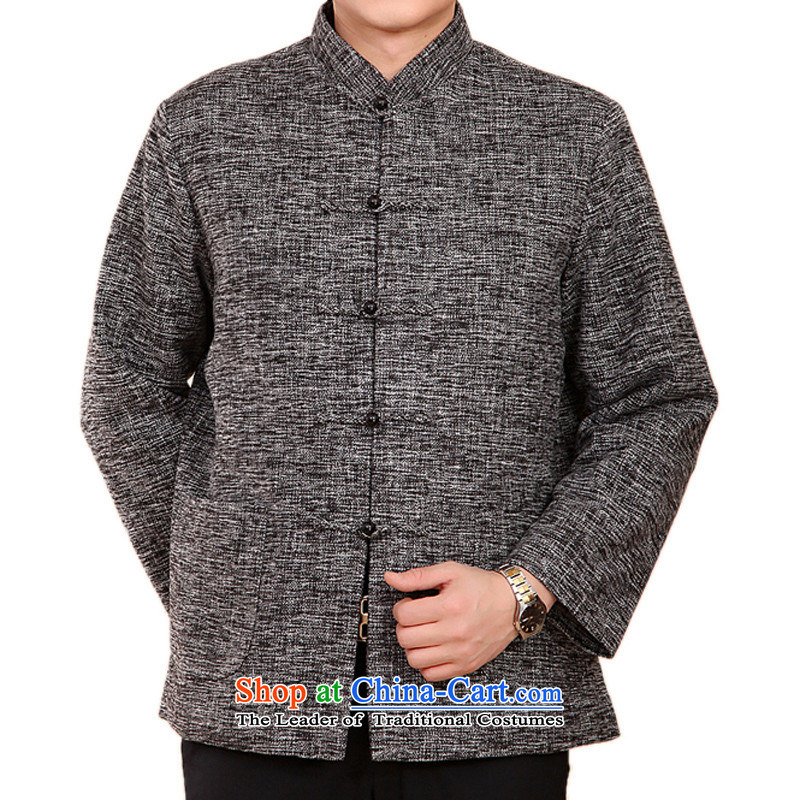 The new products and thre autumn and winter thick men in Tang Dynasty Older ethnic collar solid color men Tang Tang dynasty cotton add ?t��a jacket, gray?XXL/185 F2073