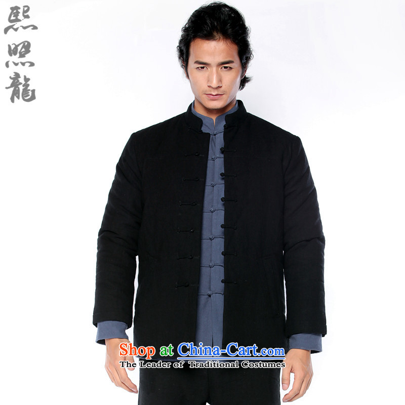 Hee-snapshot lung new winter men Tang Dynasty Chinese robe manually disc wind shirt collar cotton linen coat Black�XL
