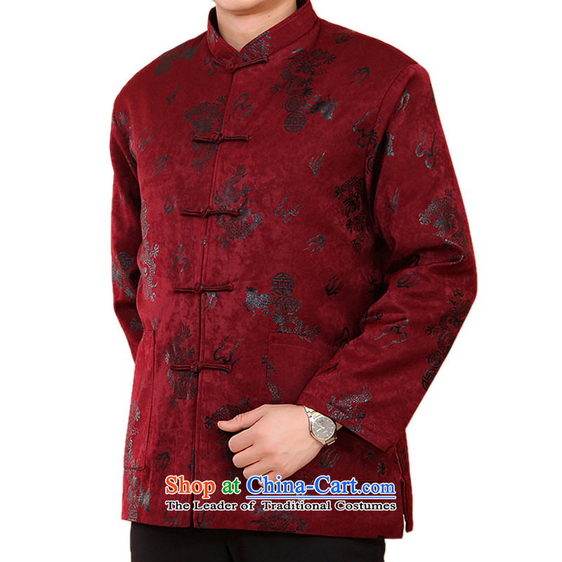 Ethnic Mock-neck Dragon long-sleeved jacket from older Tang men wearing long-sleeved sweater for winter Chinese mock Dragon Tang Dynasty National Assembly FN satin dragon聽XL_180 Purple