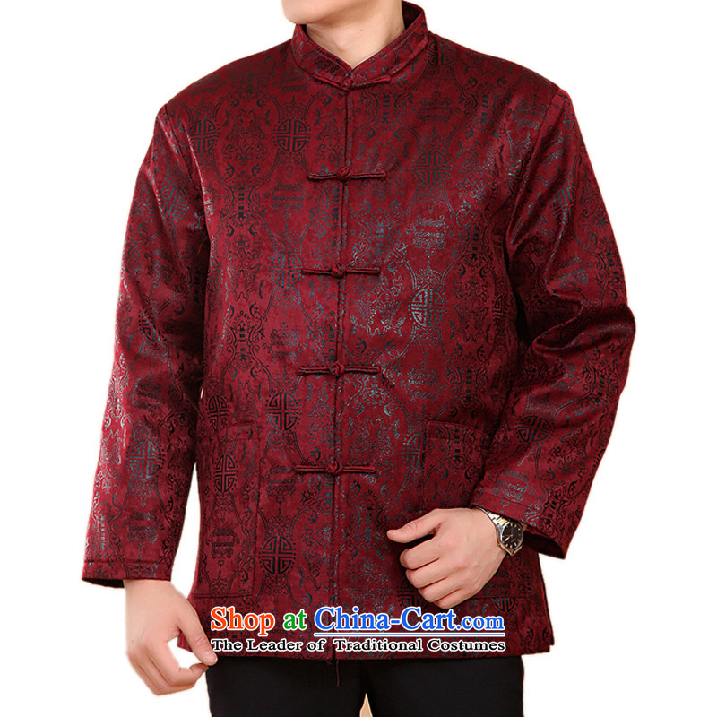 Thre line and Tang dynasty elderly men fall and winter clothing Howard Young Hearts Tang style cotton long-sleeved Tang dynasty China national services燜N-fish and cotton燲XL_185 wine red
