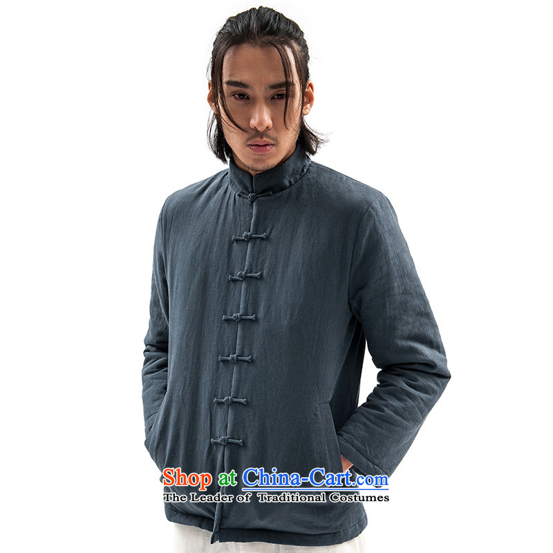 Seventy-tang New China wind original design of winter clothing clip cotton Tang jackets retro robe Men's Mock-Neck Shirt thoroughly Chinese Disc clip cotton coat national men S BLUE