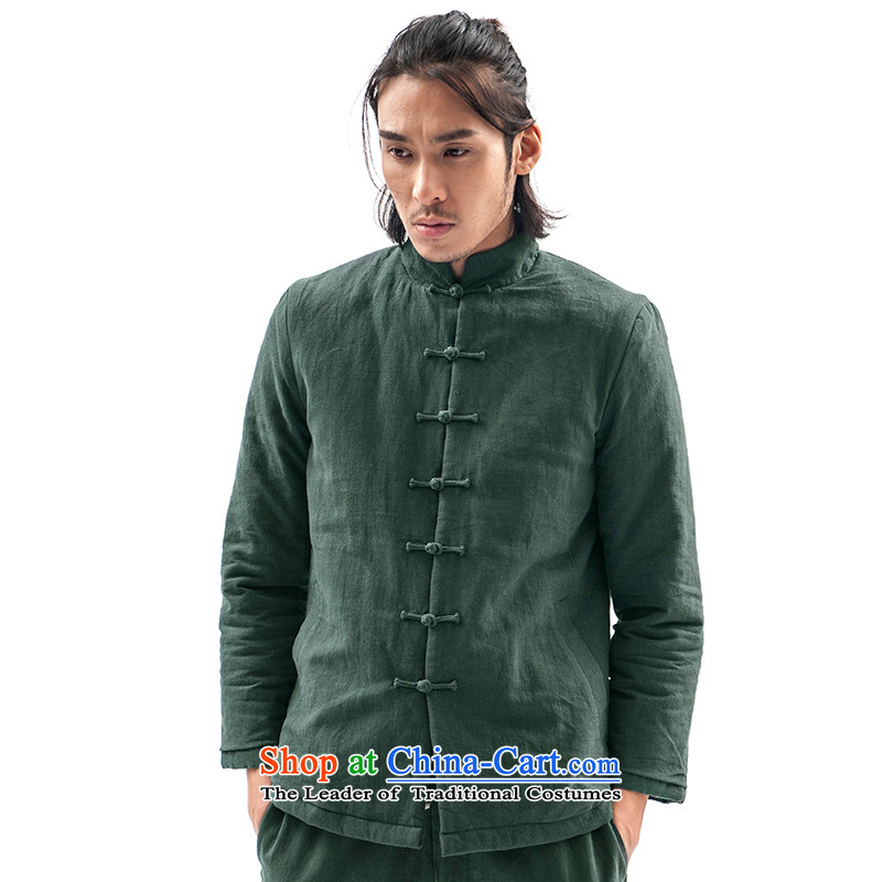 Seventy-tang New China wind original design of winter clothing clip cotton Tang jackets retro robe Men's Mock-Neck Shirt thoroughly Chinese Disc clip cotton coat national men's possession聽, Tsat Tang (Blue seventang design) , , , shopping on the Internet