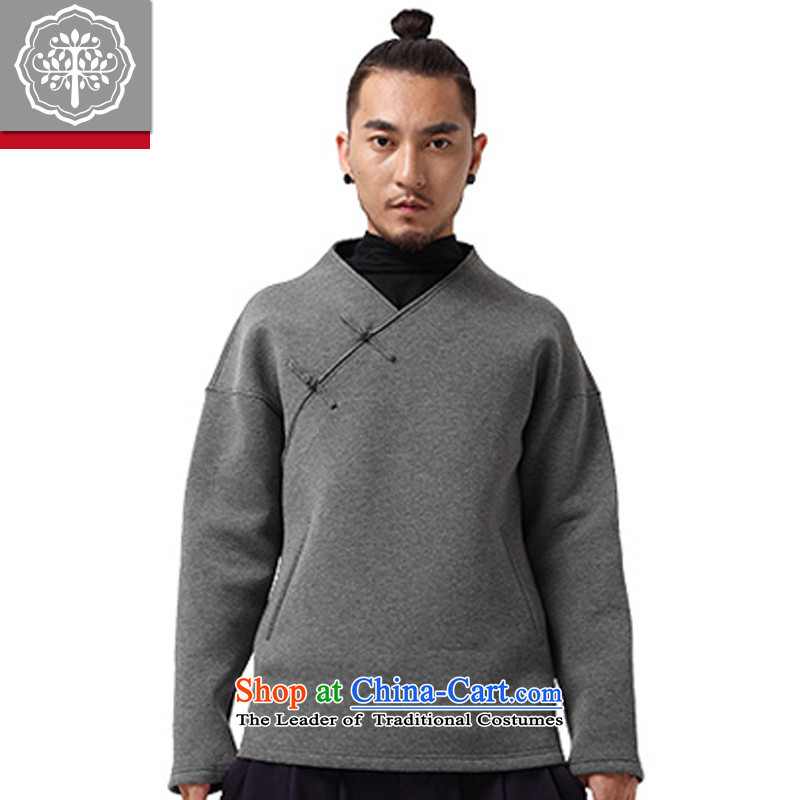 To Tree China wind sweater Tang dynasty male Han-improved no Chinese men disk coat buttoned, dark gray large
