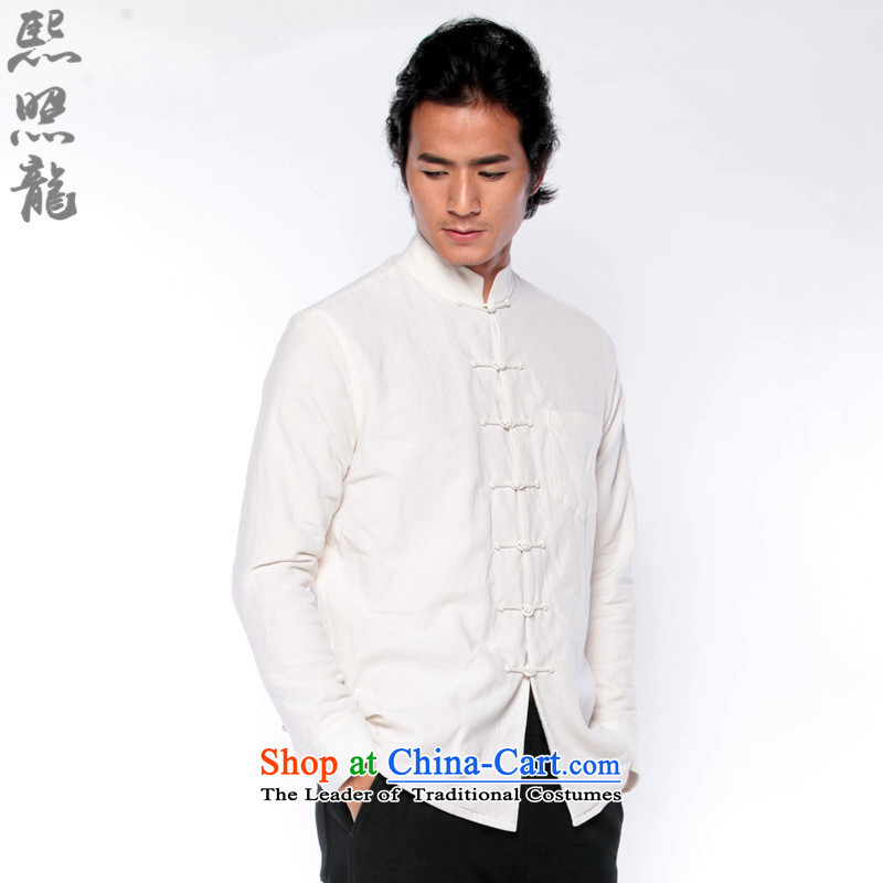 Hee-snapshot lung original income 2015 autumn and winter New Men Tang add lint-free thick warm white shirt, forming the Chinese shirt?XXL