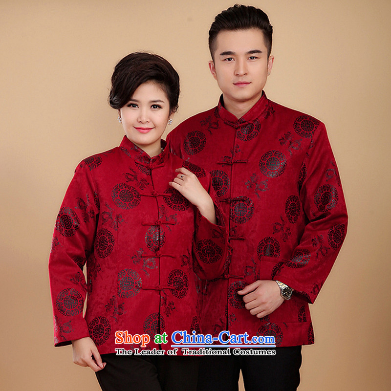 15 new and old age-winter field with men and women autumn and winter couples clip cotton Tang jackets mom and dad birthday gift birthday feast red men _185