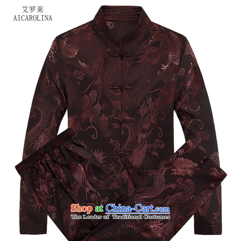 Hiv Rollet autumn and winter in the new liberal older men Tang Dynasty Package Men long-sleeved Tang dynasty coffee color kit燤