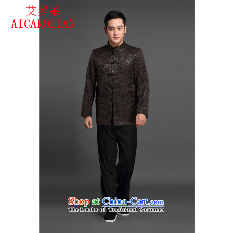 Hiv Rollet China wind men Tang dynasty long-sleeved jacket is available in autumn and winter coats?XXXL Brown