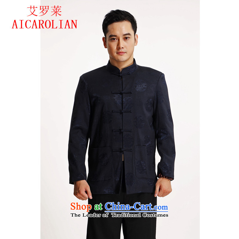 Hiv Rollet new men in spring and autumn Tang Dynasty Older long-sleeved middle-aged men's jackets Chinese blue T-shirt?M