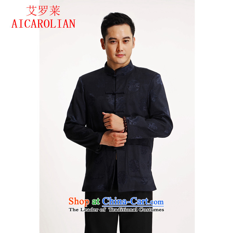 Hiv Rollet new men in spring and autumn Tang dynasty older middle-aged men's long-sleeved T-shirt , blue Chinese HIV ROLLET (AICAROLINA) , , , shopping on the Internet